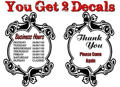 2 Personalized ELEGANT Business Hours Decals Store Front Window Vinyl Stickers