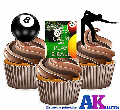 12 Precut 8 Ball Pool Edible Birthday Cup Cake Toppers Decorations Mens Boys