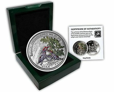 Fiji $10, 2 oz. Silver Coin, 2014, Mint, Exotic Endangered Wildlife, Stagbeetle