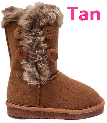 Girls 4-buttons Comfort Fully Faux Fur Lining Clasic Winter Snow Warm Boots New