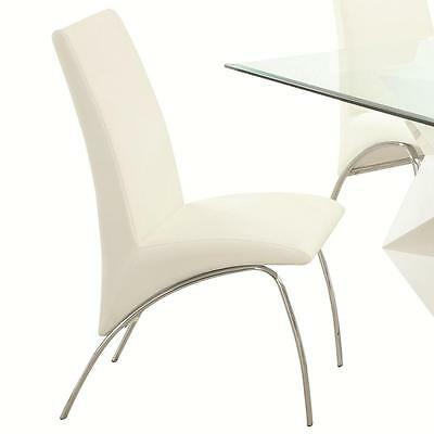 White and Chrome Dining Side Chair by Coaster 121572 - Set of 2