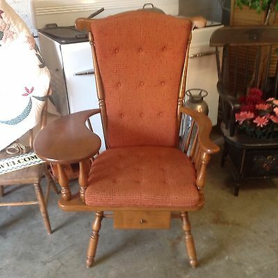 Heywood Wakefield Chair w/ Writing / Sewing Arm Original Excellent Condition!