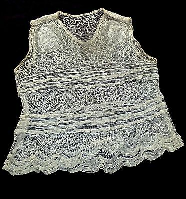 1910 Edwardian Museum Quality Blouse of Bobbin Lace + Embroidery