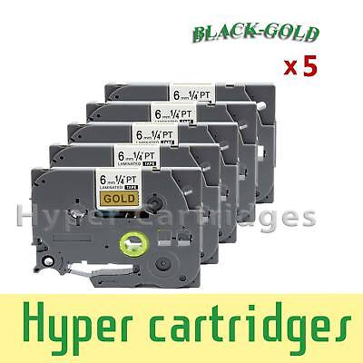 5PK Laminated Label Tape Brother TZ-811 TZe-811 Black Gold PTouch 6mm x 8m