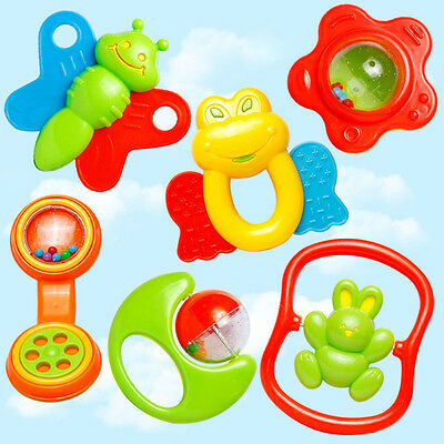 6X Baby Kids Child Hand Shaking Rattle Jingle Bell Ball Musical Educational Toys