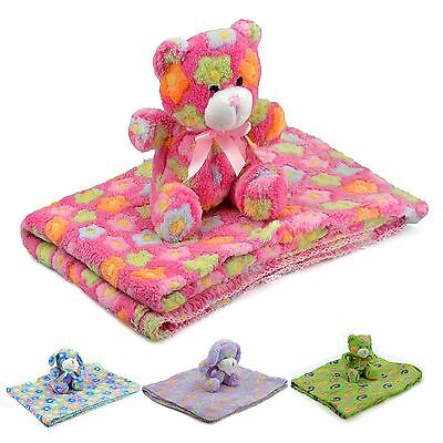 New Blanket and Toy Plush Baby Comforter Soft Hug Toys Purple Blue Red & Green
