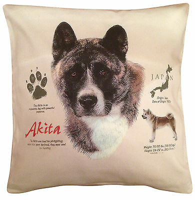Akita History Cotton Cushion Cover - Cream or White Cover - Gift Item
