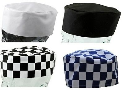 BRAND NEW Chef Skull Cap VARIOUS COLOURS Unisex Professional PLAIN and CHESS