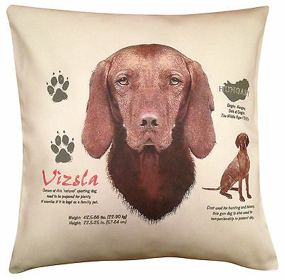 Hungarian Vizsla History Cotton Cushion Cover - Cream or White Cover - Gift Item