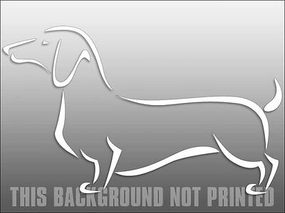 5x8 inch White Vinyl ABSTRACT Dachshund Shaped Sticker - window decal dog dach