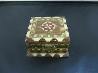 "Vintage Inlaid  Box  Hand made  2.75"" X 2.5"" X 1.5"""