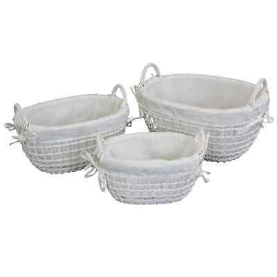 White Lined Open Weaved Basket Oval Shaped Hamper Basket With Handle - Small