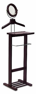 Solid Wood Valet Stand with Mirror and Drawer Espresso New