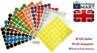 25mm Coloured Dots Round Stickers Sticky Adhesive Spot Circle Paper Labels BN UK