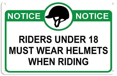 Riding Helmet Required for riders Under 18 Sign for Barn, Stable or Arena