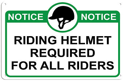 Riding Helmet Required for All Riders Sign for Barn, Stable or Arena