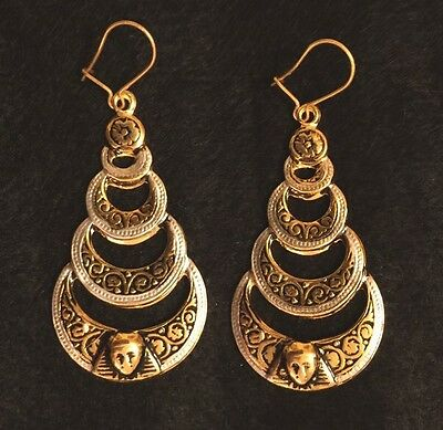 Vintage Toledo Spain Earrings 24K Gold-Plate Damascene Style Ornate Half Circles