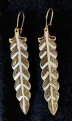 Vintage Toledo Spain Earrings 24K GP Damascene Style LONG DANGLE LEAF