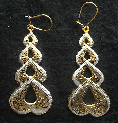 Vintage Toledo Spain Earrings 24K Gold-Plated Damascene Style Ornate Nice