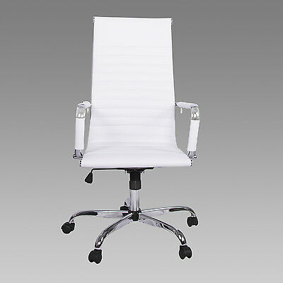 "PU Leather Office Chair Ergonomic 26.5"" High Back Executive Computer Desk Seat"