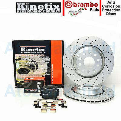 FOR AUDI RS3 REAR PERFORMANCE CROSS DRILLED BRAKE DISCS BREMBO PADS SET 310mm