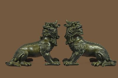 PAIR of Chinese Food Dog Guardian Lion Dragon Bronze Sculpture Statue China Art