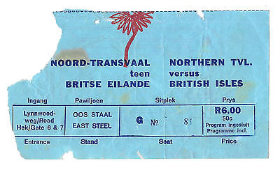 1974 - Northern Transvaal v British Lions, Touring Match Ticket.