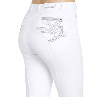 Montar White Bamboo Wave Embrodidery Ladies Breeches - Silicone Grip