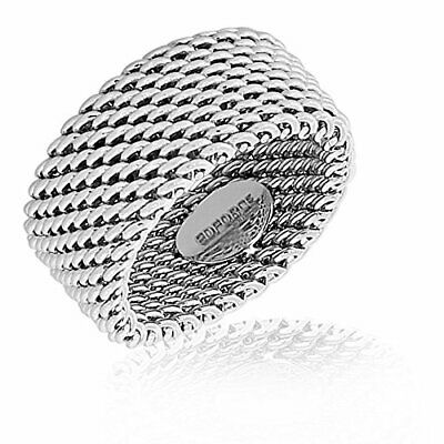 EDFORCE Stainless Steel Silver-Tone Mesh Design Wide Ring Band