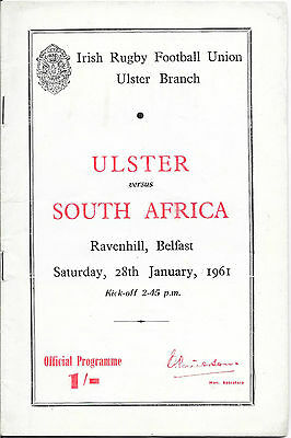 1961 - Ulster v South Africa, Rugby Union Touring Programme.