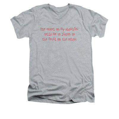 The Angel On My Shoulder Tells Me To Listen To The Devil Adult V-Neck T-Shirt