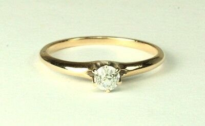Antique Diamond Solitaire Ring - Old European Cut - 1860 to 1870's - 14K
