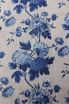Antique French Steel Engraved Blue Roses Glazed Cotton Chintz Fabric c1858~19X16