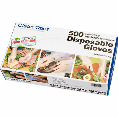 Restaurant Food Service Clean Ones Disposable Gloves, One Size, 500 Gloves