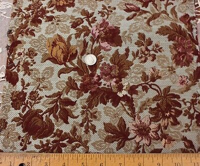 "Exquisite Antique French Woven Silk Jacquard Home Decor Fabric c1870~1yd4""LX11""W"