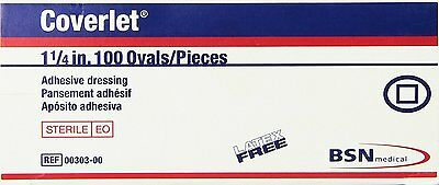 "COVERLET Bandaid 1& 1/4"" Oval Bandages Latex Free Sterile #00303 100/box"