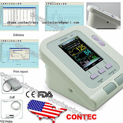 US Digital Blood Pressure monitor CONTEC08A,HR/SPo2/ NIBP+Heart Beat Meter,FDA