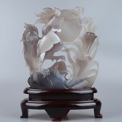 Very beautiful natural agate hand carved chicken with flowers statue