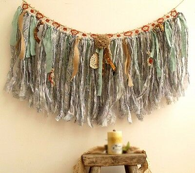 Tattered Vtg Lace Burlap valance Coral Mint Blue fabric garland Rustic Boho chic