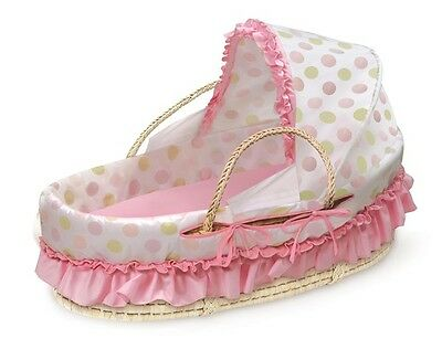 Baby Infant Natural Moses Basket w/Fabric Canopy & Pink & Sage Dot Bedding NEW
