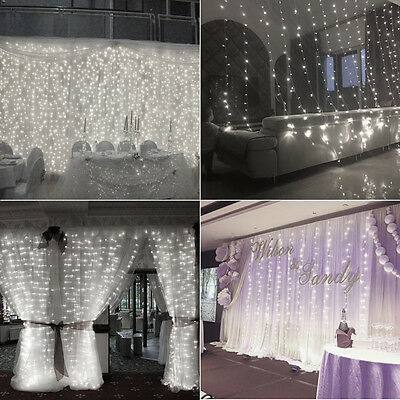 300 LED Curtain Wedding Party Backdrop Outdoor Fairy String Lights Connectable