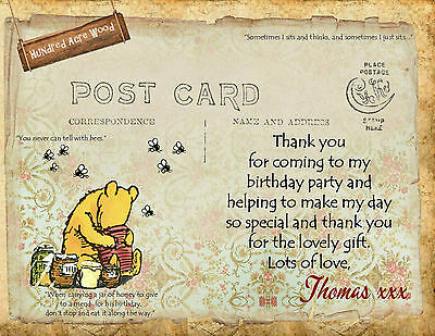 4x Winnie the Pooh Personalised Thank you Cards & Envelopes