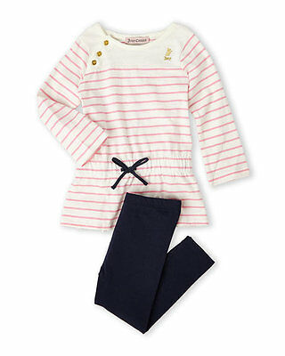 Juicycouture (Newborn/Infant Girls) Two-Piece Pink Stripe Tunic & Navy Leggings