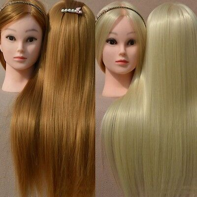 "Hairdressing Salon Cosmetology Human Long Hair Training 18""Head Mannequin+Clamp"
