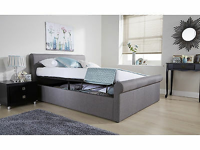 Side Lift Ottoman Sleigh Bed | Hopsack Fabric | Silver Grey | Double 4ft6