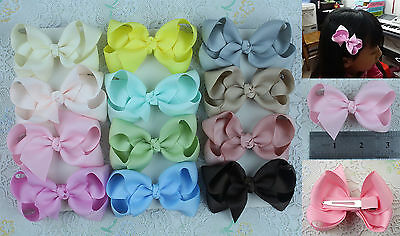 Wholesale 12pc 3inch Boutique Hair Bows Girls toddler Grosgrain Ribbon 1397