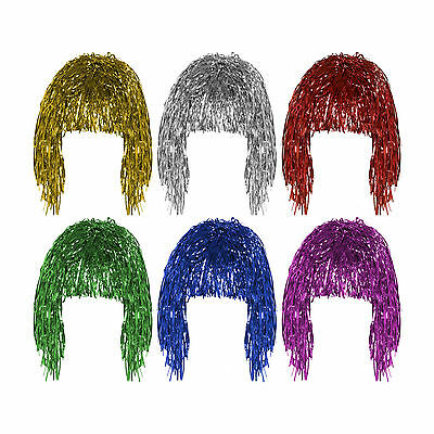 Fancy Dress Shiny Metallic Gold, Silver, Red Foil Tinsel Wig Costume Accessory