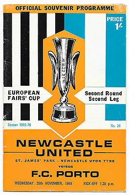 Newcastle United v Porto, 1969/70- Inter-Cities Fairs Cup 2nd Rd Match Programme
