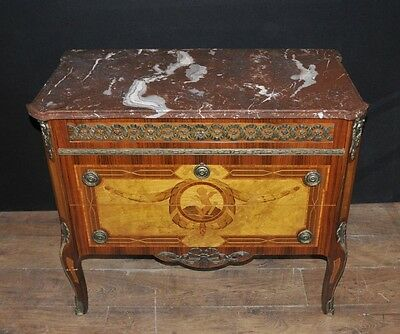 French Empire Antique Commode Chest Drawers Cherub Marquetry Inlay