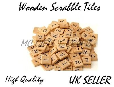 10- 1000 A 2 Z Wooden Scrabble Tiles Black Letters & Numbers For Crafts Wood Uk